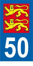 Département 50 MOTO 1 autocollant style plaque moto 3 x 6 cm LIONS