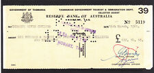 Tasmania Government Cheque 1961 With Stamp Duties On The Back Reserve Bank