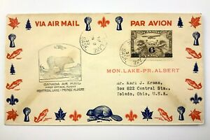1932 Canadian First Flight Commemorative Covers Montreal Lake-Prince Albert 878B