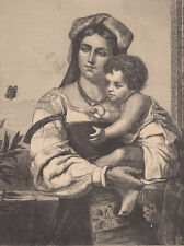 ITALY EARLY ITALIAN MOTHER HOLDING HER YOUNG SON OLD COUNTRY ANTIQUE PRINT 1881