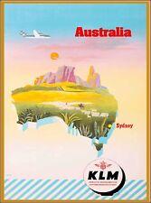 Australia by Airplane Map Vintage Australian Travel Art Poster Advertisement