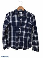 Old Navy Blue Collared Long Sleeve Plaid Button Up Tunic Blouse Medium Cotton