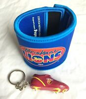 BRISBANE LIONS AFL FOOTY WRISTY DRINK COOLER WALLET + FOOTBALL BOOT KEY RING