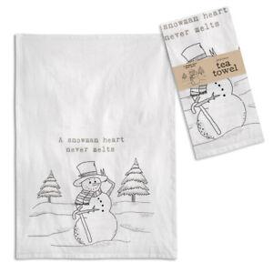 A Snowman's Heart Never Melts Tea Towel