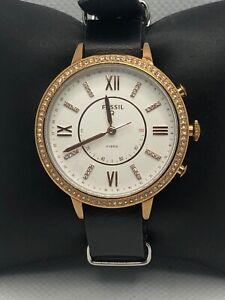 Fossil Q FTW5012 Women Black Leather Analog White Dial Hybrid Smart Watch HK284