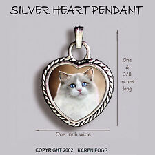 Ragdoll Cat - Ornate Heart Pendant Tibetan Silver