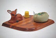 Vintage Deer Pin Cushion Thimble Sewing Tool on Wooden Base North Carolina MCM