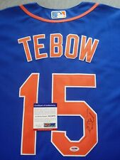 NEW YORK METS- TIM TEBOW AUTOGRAPH BLUE MAJESTIC JERSEY PSA/DNA AE15079