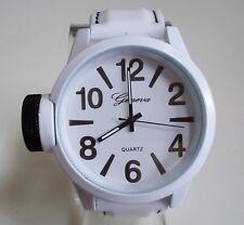 Men's Geneva White Silicon Band Fashion Dressy/Casual Wrist Watch
