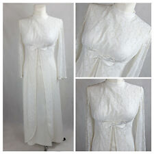 Vintage 70's Dress Disco Maxi Wedding Party Lace White Fitted UK8/10 EU36/38