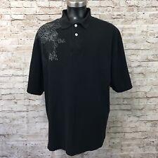 Vintage Karl Kani Men's Black Polo Embroidered Cross Shirt Size XXL HipHop