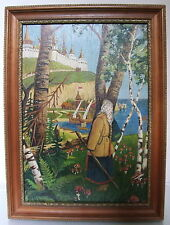 "Russian Antique Bilibin style ""Peasant Girl"" signed W.C.oil c.1930"