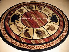 Charming 8u0027 Round Lodge Cabin Rustic Bear Pine Fish Leaf Decor Area Rug *FREE  SHIPPING