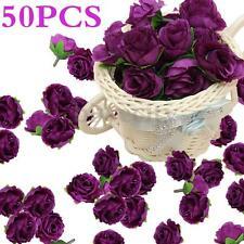50Pcs Artificial Dark Purple Silk Rose Heads Flowers Wedding Party Home Decor