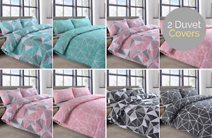 Twin Pack Saxton Grey Geometric Bedding Blue Pink Duvet Cover And Pillowcase Set