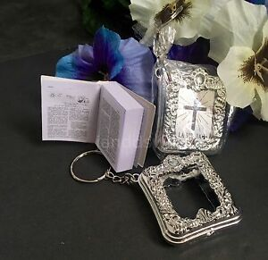 12-Baptism Mini Bibles Favors Keychains Party Recuerdos De Mi Bautizo Communion