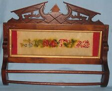ANTIQUE WALNUT VICTORIAN WALL HUNG TOWEL RACK ORIGINAL NEEDLEPOINT CA 1865