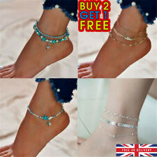 Womens Ankle Bracelet Silver Gold Adjustable  Anklet Foot Chain Beach Beads