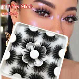 7 Pairs 25mm Long Wispy Fluffy Hair 3DMink False Eyelashes Lash Lash Extension #