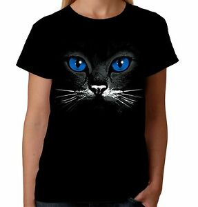 Velocitee Ladies T-Shirt Blue Eyes Cat Face Fashion Feline Kitty Cute A17601