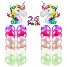 Giant Unicorn Rainbow Foil Latex Balloon Multi Color Kids Birthday Party 26 Pcs