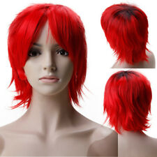 New 100% Synthetic Hair Cosplay Wig Short Straight Ombre Black Red Grey Brown V0