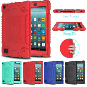 Shockproof Rugged Silicone Case Cover for Amazon Kindle Fire HD 7/8 2017 7th Gen