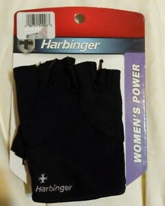 New Harbinger Women's Power/Weight lifting Black Leather Gloves Pair L Large