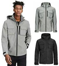 Mens Hooded Jacket Jack Jones Lightweight Windproof Windbreaker Grey Black Coat