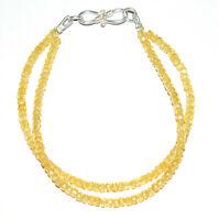 """Yellow Zircon Gemstone 925 Sterling Silver 5-10"""" Strand Bracelet 2 Layer YH365"""