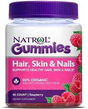 Natrol Hair Skin & Nails Gummies Raspberry Dietary Supplements 90 count