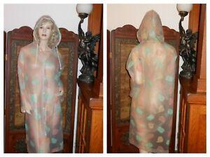 Clear PVC vinyl Raincoat Hooded Pusheen Cats Light Rain Jacket Rain Slicker XS-M