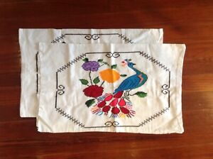 Folk Art  Cross Mexico Embroidery  pillow case hand made Peacock  (pair)