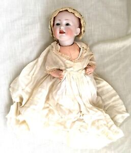 """Antique Girl Doll, Bisque Head Stamped, Glass Eyes, Teeth, Composition Body, 12"""""""