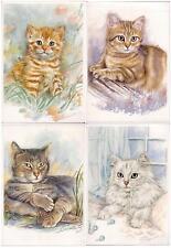 Set lot 4 pcs Pussy Cat Kitten Pc post card 2000th feline unused Belgium Lovely!