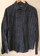 Raw State Premium mens XL extra large button up black stripe velvet detailed