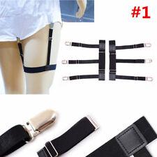 1 Pair Men's Shirt Stays Holders Elastic Garter Belt Suspender Locking Clamps #1