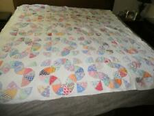 VINTAGE HANDMADE HAND STITCHED CALICO FEEDSACK QUILT UNKNOWN PATTERN