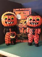 VTG Christopher Radko Shiny Brite Halloween Pumpkin Kids Wall Plaques MIB NEW