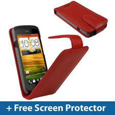 Red Leather Flip Case for HTC One S Android Cover Holder Bumper Holster Ville 1