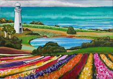 Jigsaw puzzle flower farm tulips colourful lighthouse Australian art