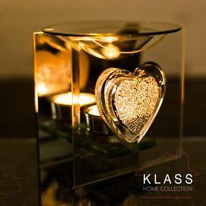 3D Glass Sparkle Heart Glass Oil Burner Tart Warmer Tea Light Candle Holder Gift