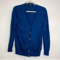 J.Crew Womens Cardigan Sweater Blue Merino Wool Long Sleeve Pockets V Neck XS