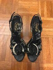 Dolce & Gabbana D&G High Heel Slingback Open toe Black sandal Size 39.5