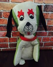 "Vintage Carnival Prize Stuffed Dog Green & White 10"" By Ramona Toy Corp. Taiwan"