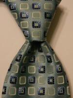 ERMENEGILDO ZEGNA Men's 100% Silk Necktie ITALY Luxury Geometric Blue/Ivory NEW