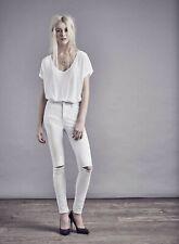 Miss Selfridge High Waist Super Skinny White Jeans. Size W30 L30, UK 12