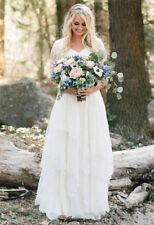 Half Sleeve V Neck Chiffon Lace Bohemian Wedding Dresses Bridal Gown Custom Size