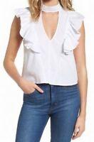 Love Fire New White Women's Size Medium M Ruffle Mock V-Neck Blouse $44 3334
