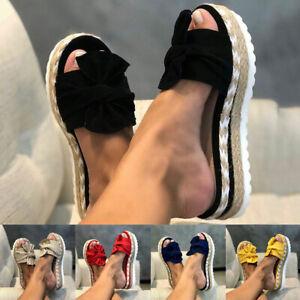Womens Bow Studded Platform Platform Slip On Heel Wedge Summer Sandals Shoes US